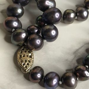 """Authentic TAHITIAN Cultured Pearl 18"""" Strand 14k"""